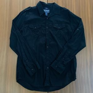 American Rag Black Pocket Long Sleeve Button Down
